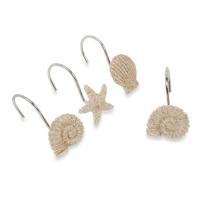 India Ink Sandy Shell Shower Curtain Hooks (Set of 12)