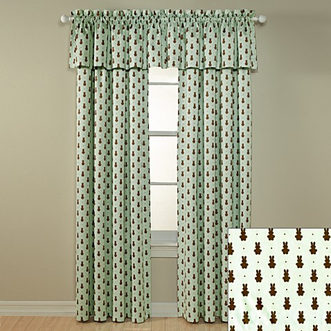 Lightcatcher Chocolate/Mint Bunny Window Panels and Valance