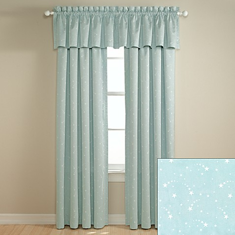 lightcatcher shooting star blue window panels and valance. Black Bedroom Furniture Sets. Home Design Ideas