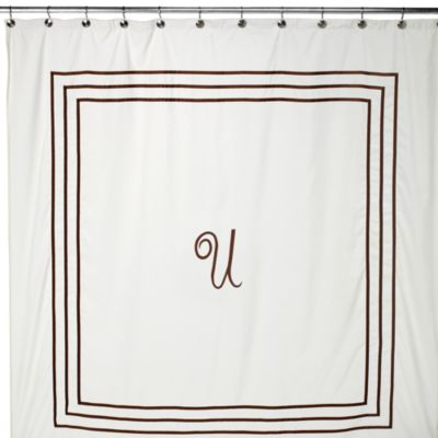 "Aussino Monogram Letter ""U"" 70-Inch W x 72-Inch L Shower Curtain"