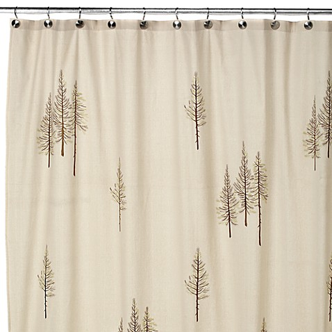 Winter 70 X 72 White Fabric Shower Curtain