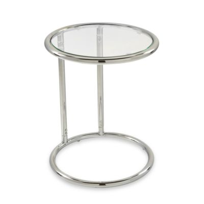 Yield Circular Glass Top and Chrome Side Table