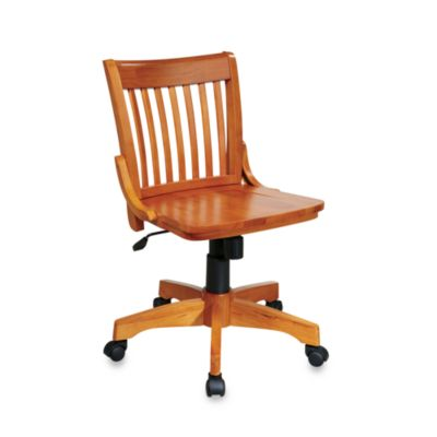 Deluxe Armless Wood Banker's Desk Chair with Wood Seat in Fruitwood