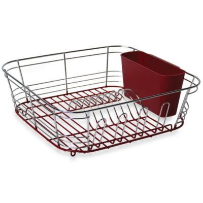 Omni Small Chrome Dipped Dish Drainer - Red