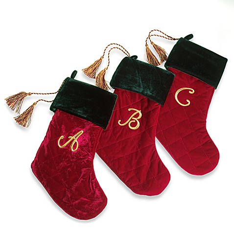 Harvey Lewis™ Monogram Initial Christmas Stocking Made with Swarovski® Elements