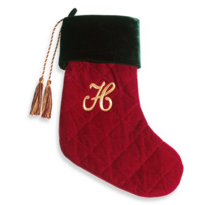 Initial Christmas Stocking made with CRYSTALLIZED™ - Swarovski Elements - H