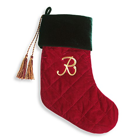 Harvey Lewis™ Monogram Initial R Christmas Stocking Made with Swarovski® Elements