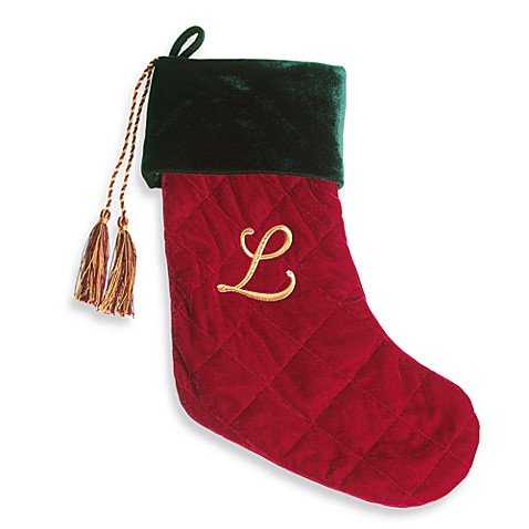 Harvey Lewis™ Monogram Initial L Christmas Stocking Made with Swarovski® Elements