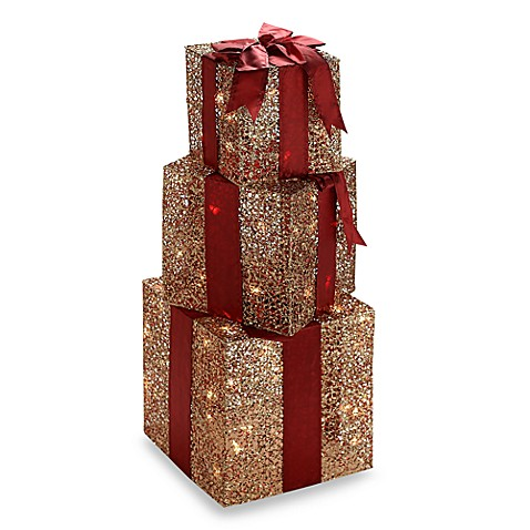 Lighted Ruby and Gold Decorative Present Boxes (Set of 3)