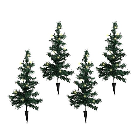 Lighted Pathway Trees (Set of 4)