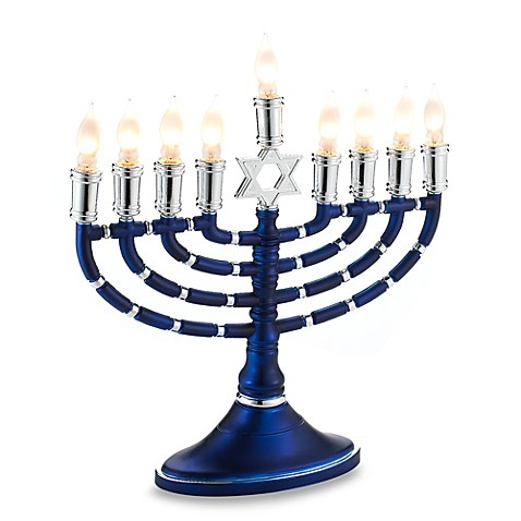 Electric Blue and Silver Menorah