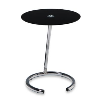 Yield Circular Black Glass and Chrome Telephone Table