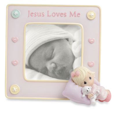 """Baby Gifts > Precious Moments™ Jesus Loves Me 3 1/2"""" x 5"""" Baby Photo Frame - Girl"""
