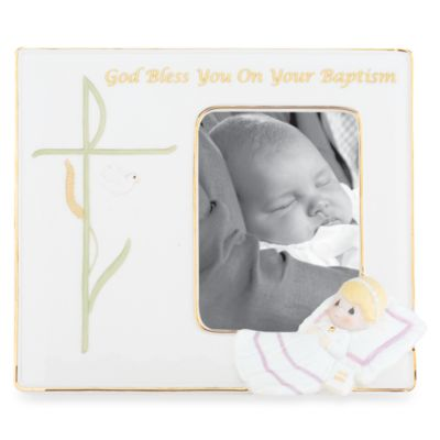 Precious Moments® God Bless You on Your Baptism 3 1/2-Inch x 5-Inch Porcelain Frame in Girl
