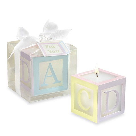 Kate Aspen® Baby Block Candle Baby Shower Favor (Set of 4)