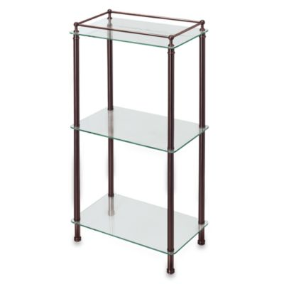 Gatco Taboret Bronze and Glass Shelf Tower