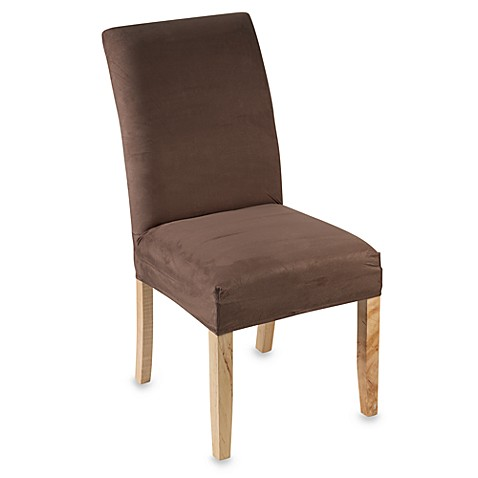 stretch suede short dining room chair cover brown bed