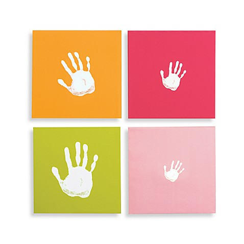 Pearhead™ Handprint Wall Art Set in Pink (Set of 4)