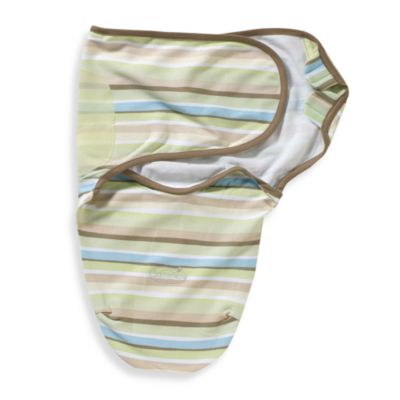 SwaddleMe® Small/Medium Cotton Adjustable Infant Wrap in Green Stripe