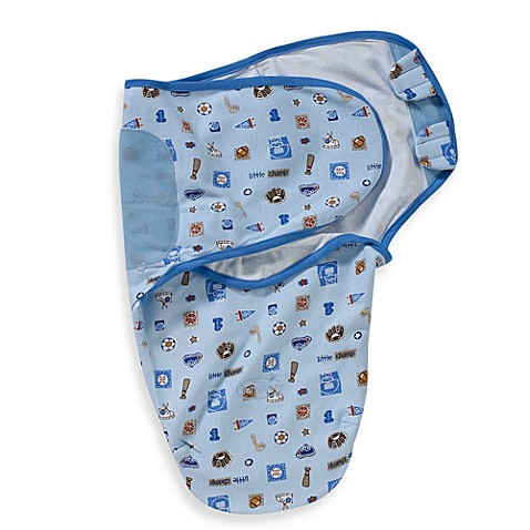 SwaddleMe® Small/Medium Adjustable Infant Wrap 100% Cotton in Blue Champ