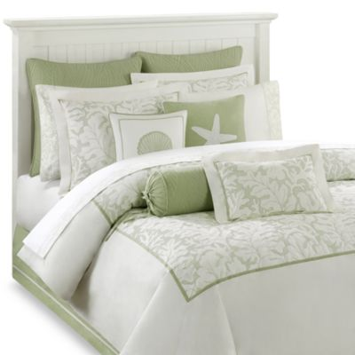 Harbor House™ Brisbane Full Comforter Set in White/Sage