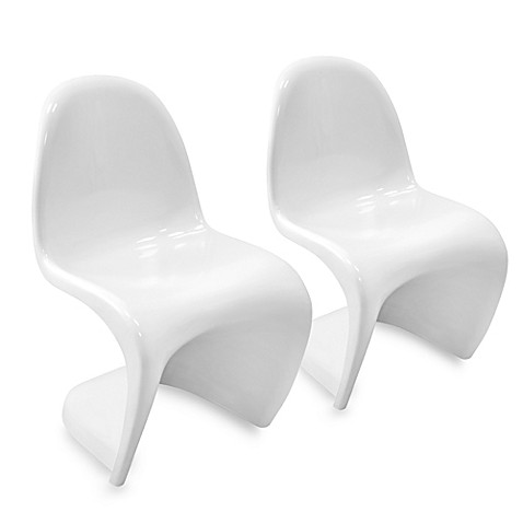 LumiSource Zin Chair in White (Set of 2)