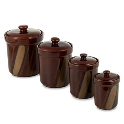 buy canisters sets from bed bath amp beyond large canister set of 3 brown canisters in base thisnext
