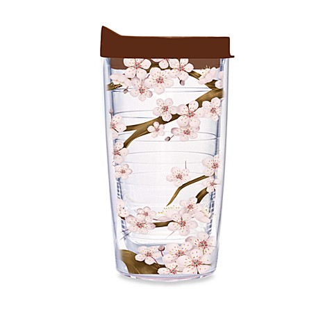Tervis Tumbler Cherry Blossom Wrap Tumber with Brown Lid - 16-Ounce
