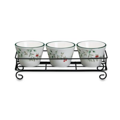 Pfaltzgraff® Winterberry Dip Bowls with Wire Rack (Set of 3)