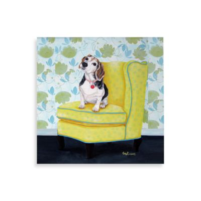 Beagle on Yellow Wall Art