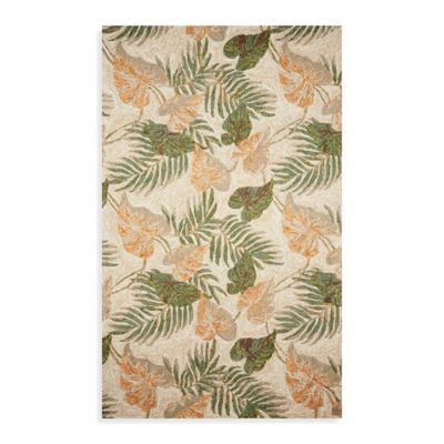 Ravella Tropical Leaf 2-Foot x 3-Foot Indoor/Outdoor Rug