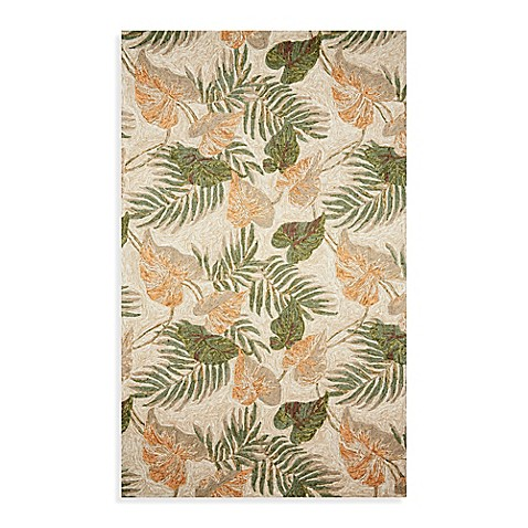 Ravella Tropical Leaf 5-Foot x 8-Foot Indoor/Outdoor Room Size Rug