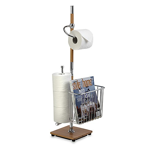 Toilet Tissue Stand Combo in Bamboo and Chrome