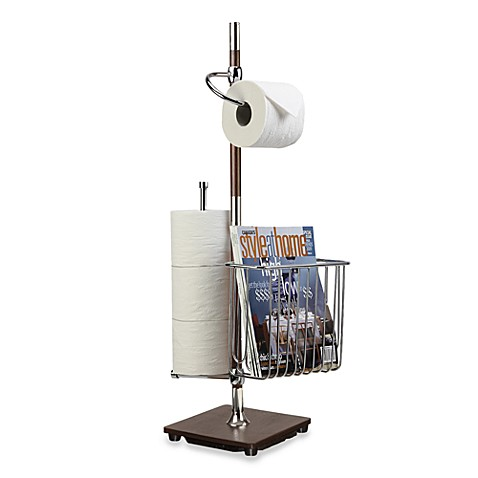 Toilet Tissue Stand Combo in Espresso and Chrome