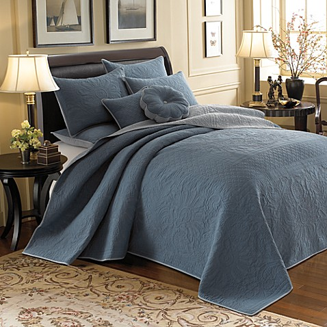 Vallejo Blue Reversible Bedspread, 100% Cotton