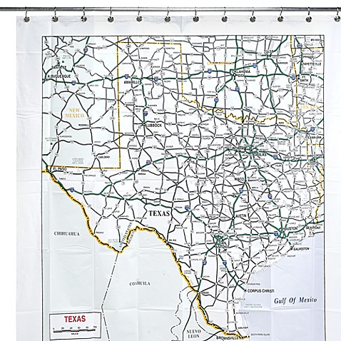 Texas Map 72'' x 72'' Vinyl Shower Curtain