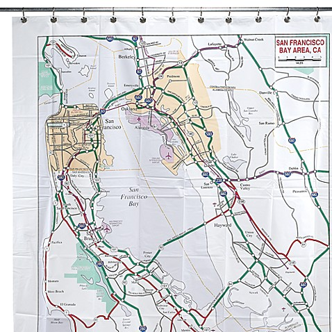 San Francisco Bay Area Map 72-Foot-Foot x 72-Foot-Foot Vinyl Shower Curtain