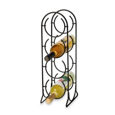 Spectrum Horseshoe 4-Bottle Metal Wine Rack in Black