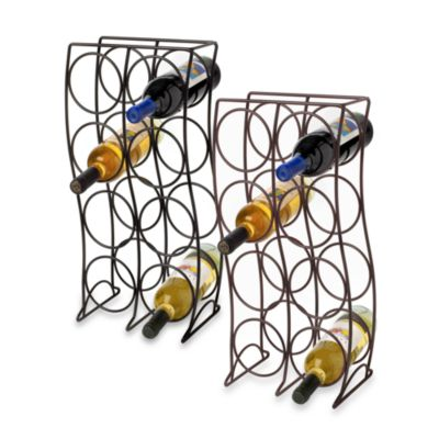 8-Bottle Metal Wine Rack - Black