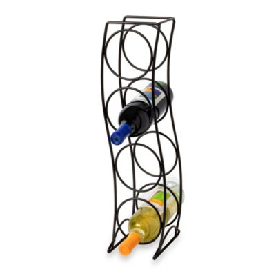 Curved Tower Black 4-Bottle Wine Rack