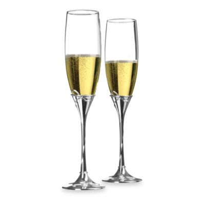 Waterford® Ballet Ribbon Silver Stem 8 Ounce Toasting Flutes (Set of 2)