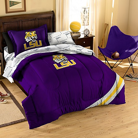 Collegiate Louisiana State University Full Complete Bed Ensemble in Azalea/Black