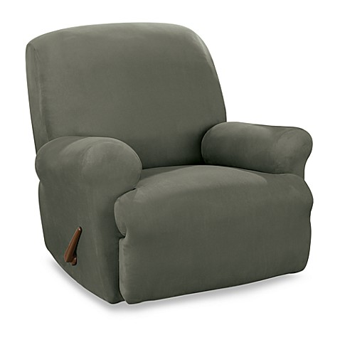 Sure Fit® Stretch Suede Dark Green Straight Arm Recliner Cover