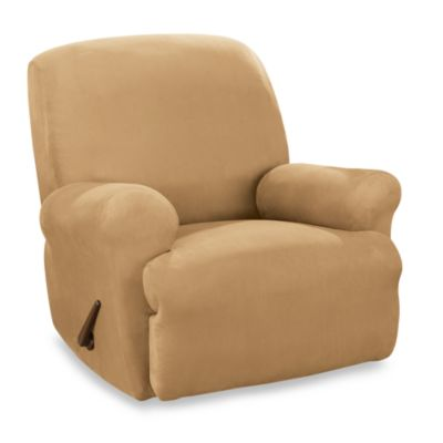 Sure Fit® Stretch Suede Straight Arm Recliner Cover in Camel