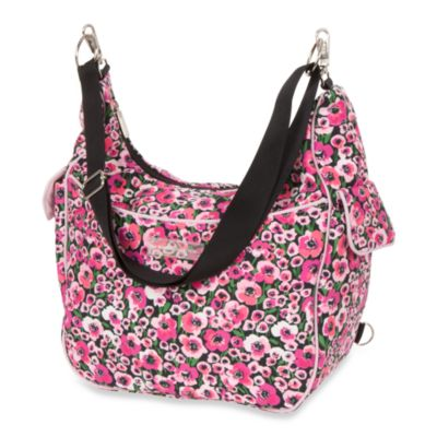 The Bumble Collection Chloe Hobo Convertible Diaper Bag in Peony Paradise