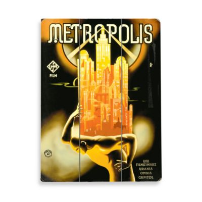 Metropolis Planked Wood Sign