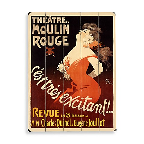 Moulin Rouge Planked Wood Sign