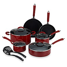 Farberware® Millennium Red Nonstick Enameled Aluminum 12-Piece Cookware Set and Open Stock