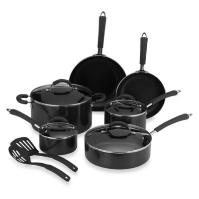 Farberware® Millennium Black Nonstick Coated Porcelain Enameled Aluminum 12-Piece Cookware Set