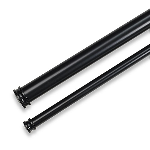 Complete double drapery rod in satin black from bed bath amp beyond